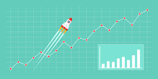Business growth concept. Flat style illustration with spaceship. Rocket flying on chart, graph going up. Business growth concept for Chart, Graph, New Business Stock Photography