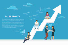 Business growth concept illustration of business people working together as team. And sitting on the big arrow. Flat people working with laptops to develop Stock Images