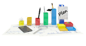 Business growth concept and planning. In the office on the charts Royalty Free Stock Image
