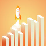 Business growth concept. Rocket. Useful for advertising, social. Rocket. Useful for advertising, social media, start up. Business growth concept Stock Images