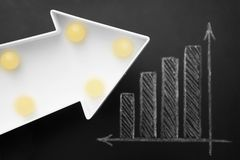 Business and growth concept. Simple diagram drawn on a chalkboard and white decorative arrow. royalty free stock image