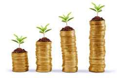 Business growth concept. Symbol of business growth with chart made of golden coin Royalty Free Stock Image
