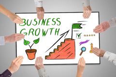 Business growth concept on a whiteboard. Held by hands Royalty Free Stock Photos