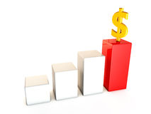 Business growth dollar. 3D illustration Royalty Free Stock Image