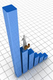 Business growth financial chart concept. Businessman looking at the growing financial chart 3d illustration Stock Image