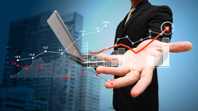 Business growth Financial graph on screen Stock Photo