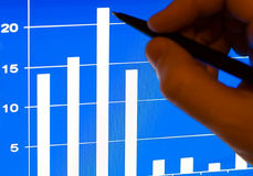 Business growth - financial stats on laptop lcd Royalty Free Stock Photography