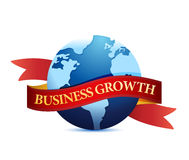 Business growth with globe illustration Royalty Free Stock Image