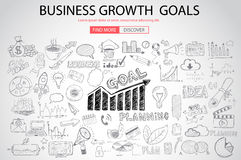 Business Growth Goals concet with Doodle design style Royalty Free Stock Photos