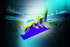 Business growth graph and chart in color background. Digital illustration of Business growth graph and chart in color background Stock Photos