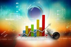 Business growth graph. 3d business growth graph in digital background Stock Photography