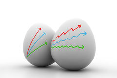 Business Growth graph  drawing  in  egg. Isolated on white Royalty Free Stock Photo
