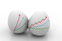 Business Growth graph  drawing  in  egg. Isolated on white Royalty Free Stock Image