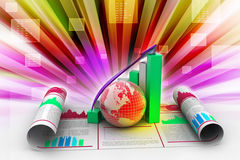 Business growth graph and  globe Stock Photo