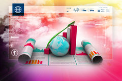 Business growth graph and  globe Royalty Free Stock Image