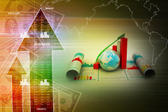 Business growth graph and  globe Royalty Free Stock Photography