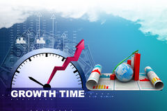 Business growth graph and  globe Royalty Free Stock Photo