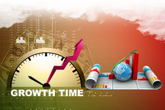 Business growth graph and  globe Royalty Free Stock Images