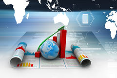 Business growth graph and  globe Royalty Free Stock Photos