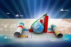 Business growth graph and  globe Stock Photos