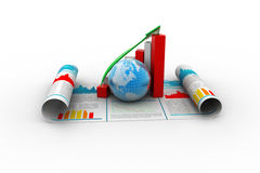 Business growth graph and  globe Stock Image