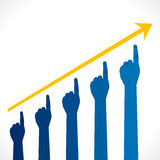 Business growth graph. Hand business growth graph background Royalty Free Stock Image