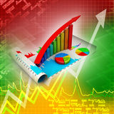 Business growth graph and pie chart Stock Photos