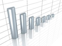 Business Growth Graph With  Silver Bars. 3d Royalty Free Stock Images