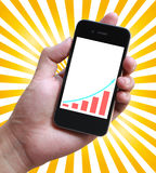 Business Growth Graph on Smartphone Screen Stock Images