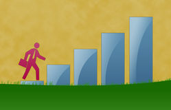 Business Growth Illustration. With walking in the ladder Royalty Free Stock Photo