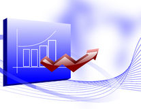 Business Growth Chart with an Up Arrow. Business growth illustration with a bar chart displayed on a board and a 3d upward arrow coning out of it Royalty Free Stock Photography