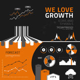 Business growth infographic elements, icons and symbols Stock Image