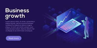 Business growth isometric vector illustration. Abstract business. Man with laptop background. Financial increase or stock exchange website header layout. Digital royalty free illustration