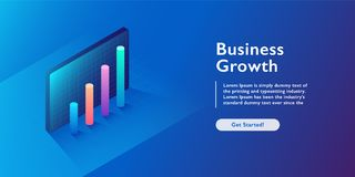 Business growth isometric vector illustration. Abstract businessman with laptop background. Financial increase or stock exchange w. Ebsite header layout. Digital vector illustration