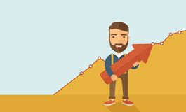 Business growth. A lucky young  hipster Caucasian man with beard  carrying a red arrow pointing upward showing for his successful plan in business.  Business Stock Images