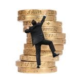 Business growth - man climbing coins Stock Photos