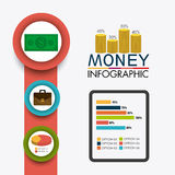Business growth and money savings. Statistics design, vector illustration Royalty Free Stock Images