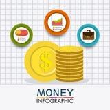 Business growth and money savings. Statistics design, vector illustration Stock Photos