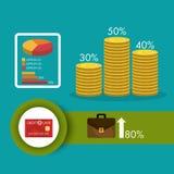 Business growth and money savings. Statistics design, vector illustration Stock Photo