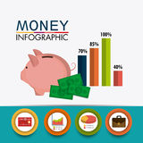 Business growth and money savings. Statistics design, vector illustration Royalty Free Stock Photography