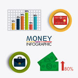 Business growth and money savings. Statistics design, vector illustration Royalty Free Stock Photos