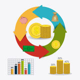 Business growth and money savings. Statistics design, vector illustration Royalty Free Stock Image