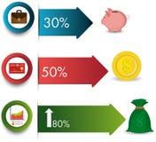 Business growth and money savings statistics. Business growth and money savings infographics design,  illustration Royalty Free Stock Photo