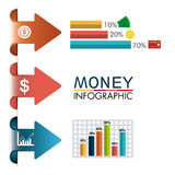 Business growth and money savings statistics. Business growth and money savings infographics design, vector illustration Royalty Free Stock Images