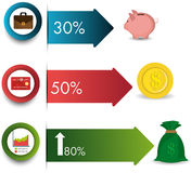 Business growth and money savings statistics. Business growth and money savings infographics design, vector illustration Stock Photography