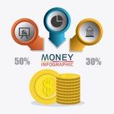 Business growth and money savings statistics. Business growth and money savings infographics design, vector illustration Stock Photos