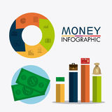 Business growth and money savings statistics. Business growth and money savings infographics design, vector illustration Royalty Free Stock Image