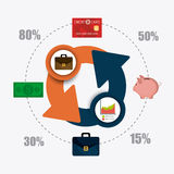 Business growth and money savings statistics. Business growth and money savings infographics design, vector illustration Royalty Free Stock Photo