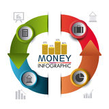 Business growth and money savings statistics. Business growth and money savings infographics design, vector illustration Stock Images