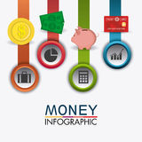Business growth and money savings statistics. Business growth and money savings infographics design, vector illustration Royalty Free Stock Photography